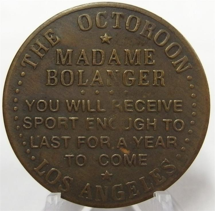 Token Coin - Cast Brass THE OCTOROOM - MADAME BOLANGER, Los Angeles, All Night $3 Check, 1-1/2""