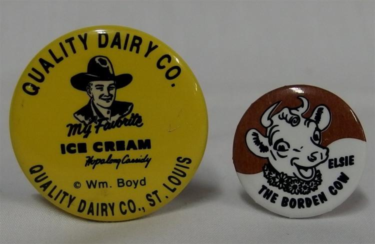 "Pinback - (2) HOPALONG CASSIDY Wm. Boyd Favorite Ice Cream, Quality Dairy St. Louis 1-3/8"", Elsie The Borden Cow, 1"""