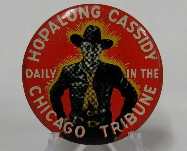 "Pinback - Cowboy HOPALONG CASSIDY, 1-3/8"" Attached Ribbon with Revolver, 2 """