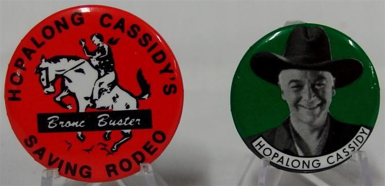 "Pinback - (2) HOPALONG CASSIDY, 1-1/4"", HOPALONG CASSIDY'S SAVING RODEO, Bronco Buster, Copyright 1950 Wm. Boyd, 1-1/2"""