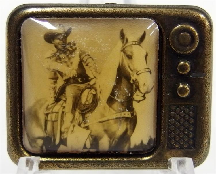 "Pinback - Rare 1950's ROY ROGERS & TRIGGER TV Set, 1-1/8 x 7/8"""