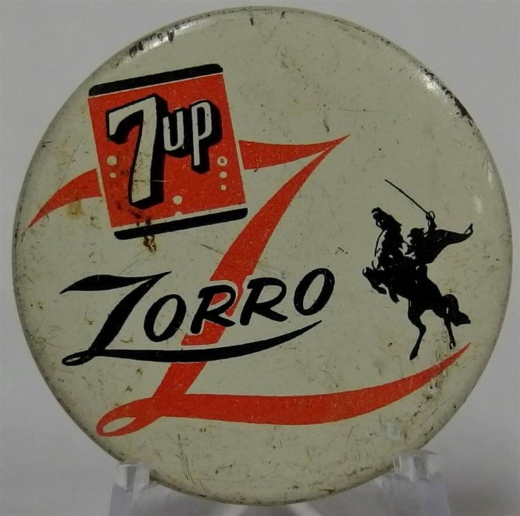 Pinback - 7up ZORRO, Made in U.S.A., 1-3/8""