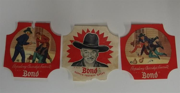 Advertising - (3) Bond Bread Seals, Hoppy's Favorite Bread, #45 Cowboy Scene, #46 Cowboy Scene, 2-3/4""