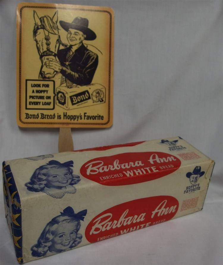 Advertising - (2) HOPALONG CASSIDY Bond Bread Fan, 7x9, Barbara Ann Bread Package, Both are Hoppy's Favorite