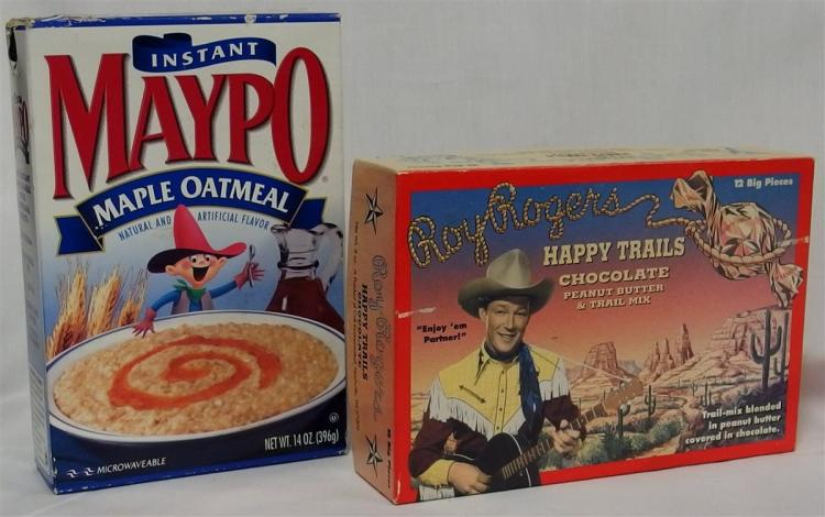 "Advertising - (2) ROY ROGERS Happy Trials Chocolate Box, 7-3/4""L, Mayo Cowboy Box"