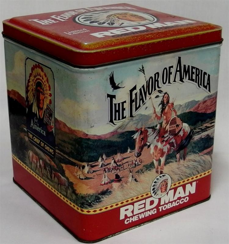 "Advertising Tin - 1991 Limited Edition REDMAN Chewing Tobacco Tin, 7""H"