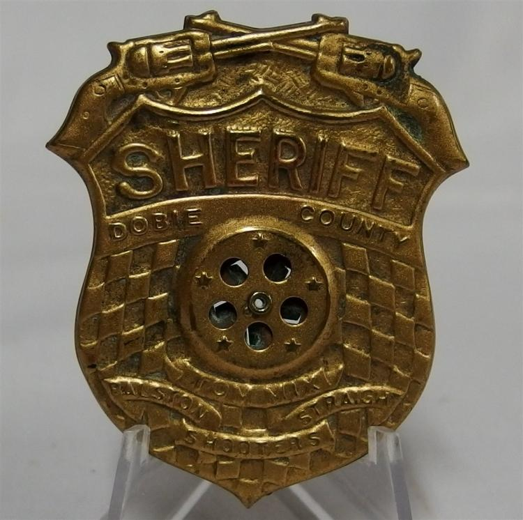 Badge Pinback - 1946 TOM MIX Ralston Straight Shooters Dobie County Sheriff's Badge with Siren, 2""