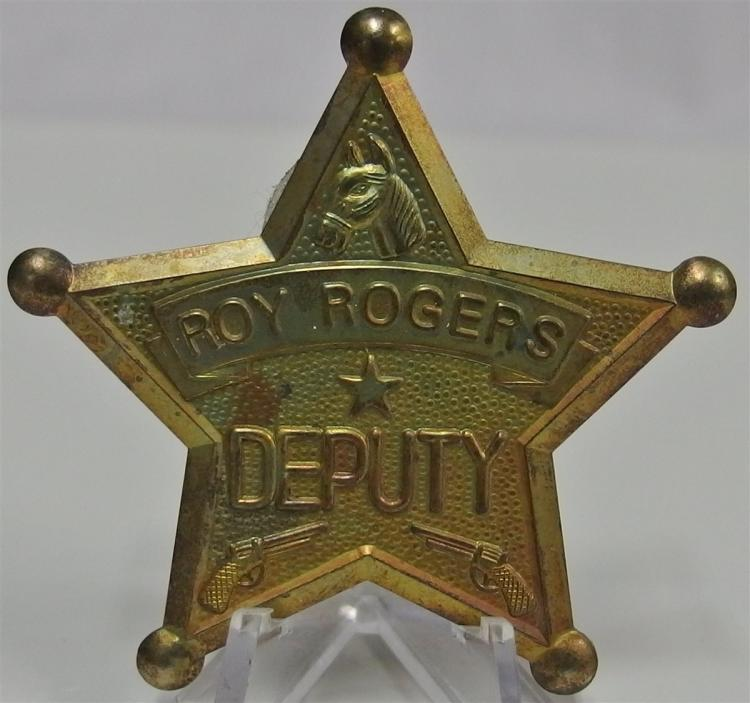Badge Pinback - ROY ROGERS DEPUTY, Star, Pin missing, 2-1/2""