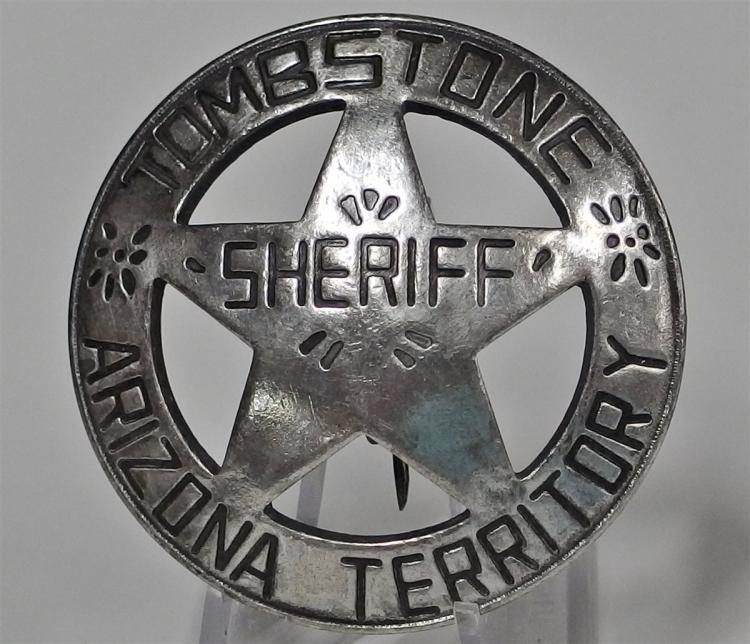 Badge Pinback - TOMBSTONE ARIZONA TERRITORY SHERIFF, 1-7/8""