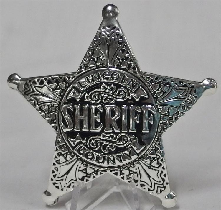 Badge Pinback - SHERIFF LINCOLN COUNTY, Metal Star, 3""