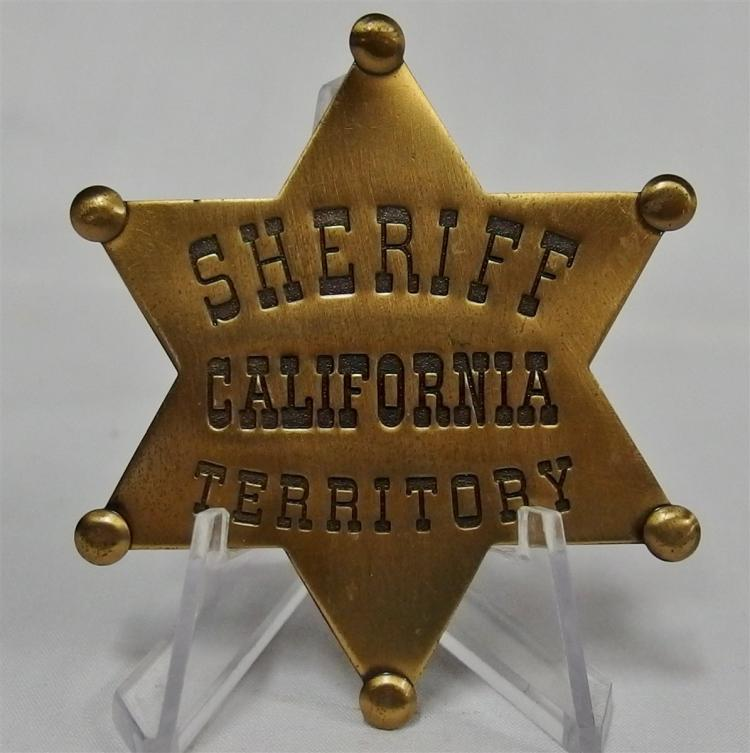 Badge Pinback - SHERIFF CALIFORNIA TERRITORY, Brass Star, 2-1/4""