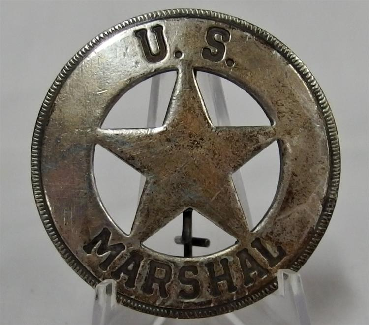 Badge Pinback - US MARSHALL, Metal Star in Circle, 2""