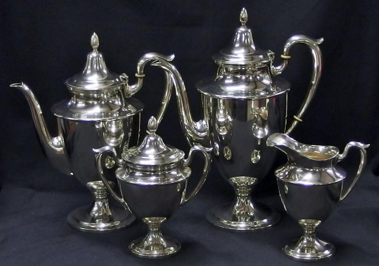 STERLING 4-piece Tea Set by Fisher Silversmiths, Pattern 2321 - NOT Weighted