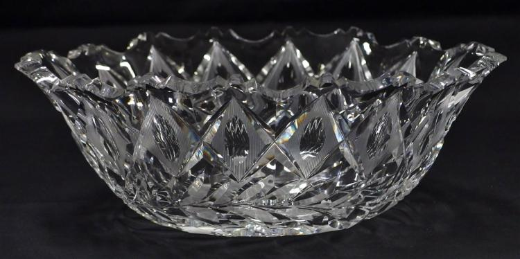 American Brilliant Cut Crystal Oval Center Bowl, 10-3/4D