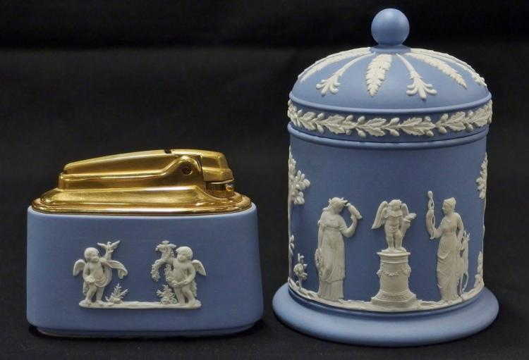 Wedgwood England Blue Four Seasons Table Lighter & Covered Jar