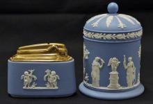 Lot 3: Wedgwood England Blue Four Seasons Table Lighter & Covered Jar