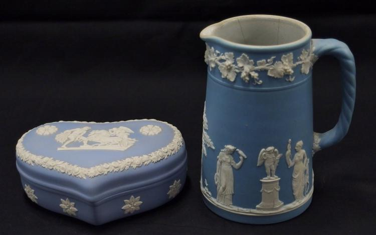 Wedgwood England Blue Heart Box & Milk Pitcher