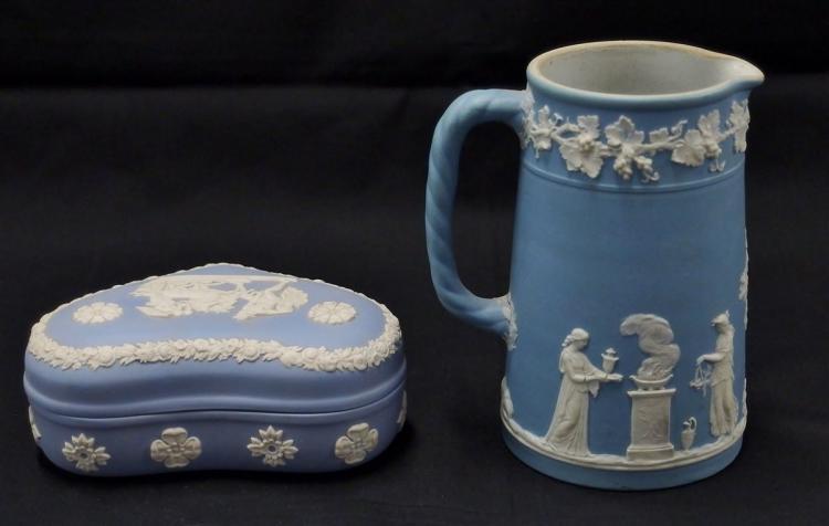 Lot 4: Wedgwood England Blue Heart Box & Milk Pitcher