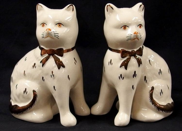 Pair of Kent Staffordshire Ware England Cats, 7-1/2H