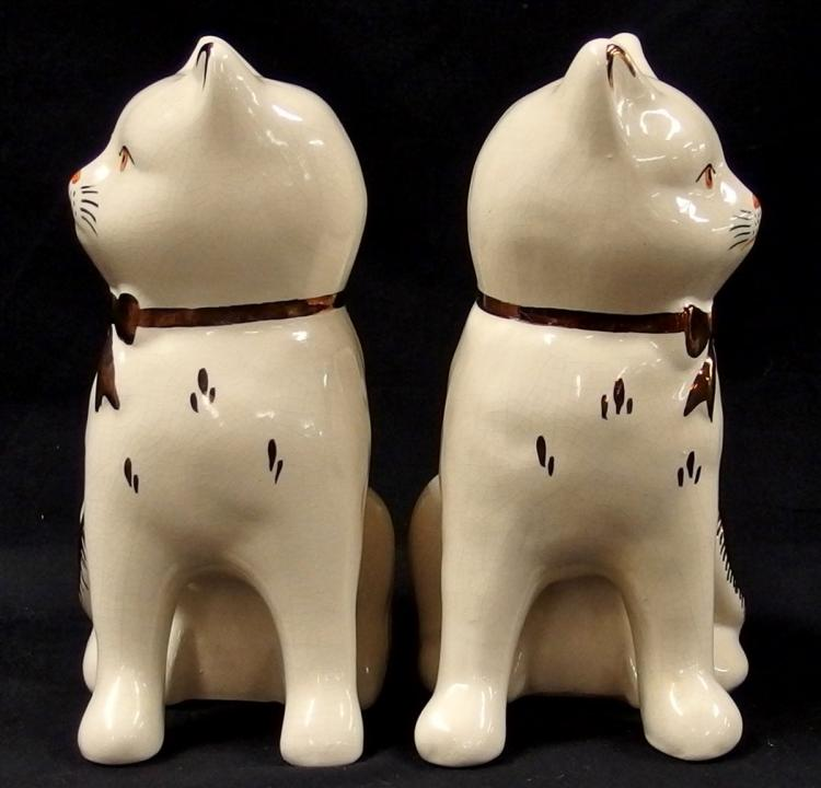 Lot 6: Pair of Kent Staffordshire Ware England Cats, 7-1/2H