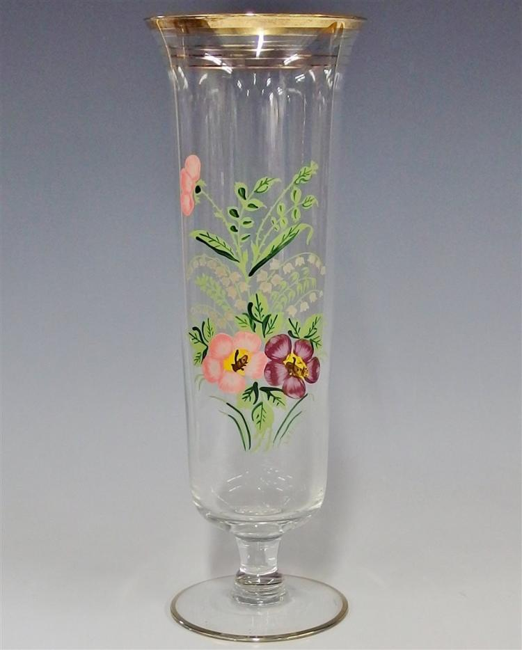 Crystal Trumpet Vase Handpainted with Pansy & Lilies of the Valley Flowers, Signed Lebrun