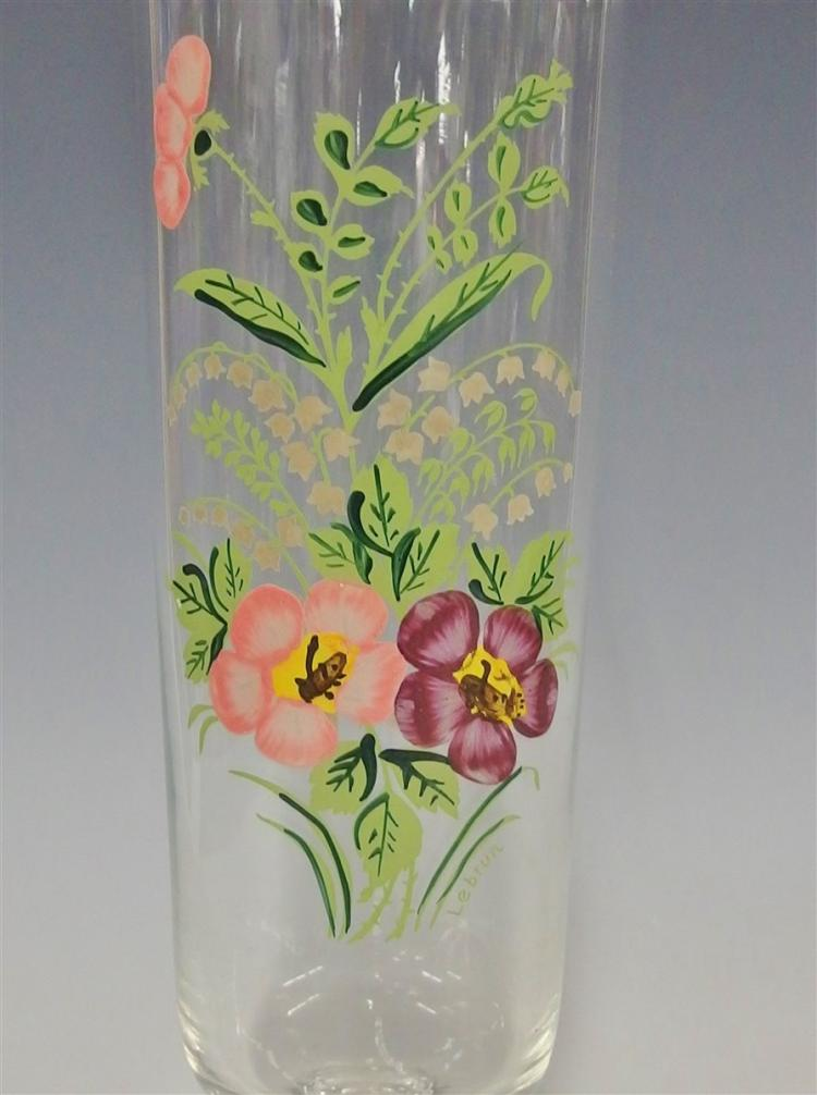 Lot 7: Crystal Trumpet Vase Handpainted with Pansy & Lilies of the Valley Flowers, Signed Lebrun