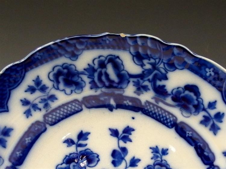 Lot 8: Antique 1908 Albert E. Jones, England Flow Blue Asian 'Pekin' Platter, 12D