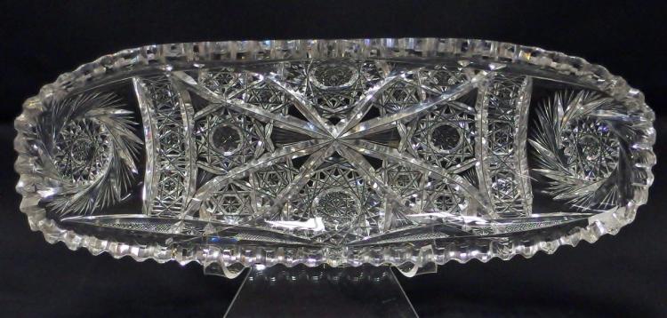 Lot 9: American Brilliant Cut Crystal Oblong Relish Dish, 12-1/2L