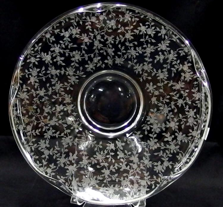 Lot 11: Elegant Crystal Rose Etched Footed Platter, Rolled Edge, 13D