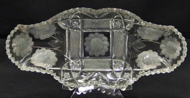 Lot 13: American Brilliant Cut Crystal Oblong Relish Dish, 12D