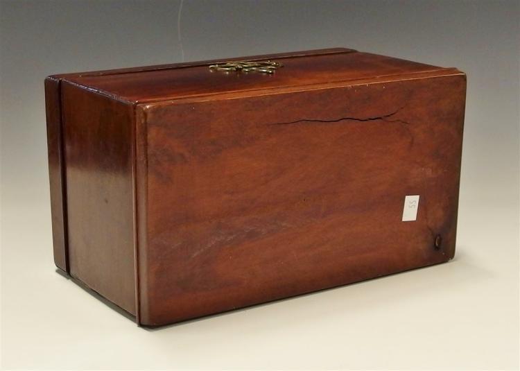 Lot 14: Antique Walnut Tea Caddy, Tinned Interior, Brass Ormolu, 9W