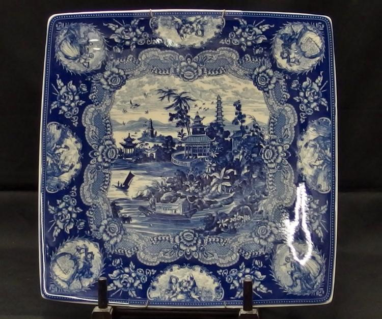 Antique Rare Square Blue & White Chinese Export Platter, 12-5/8D, Border Scenes