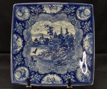 Lot 18: Antique Rare Square Blue & White Chinese Export Platter, 12-5/8D, Border Scenes