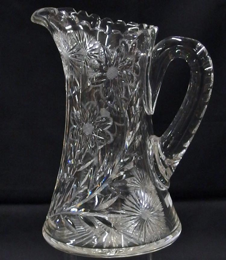 American Brilliant Cut Crystal Water Pitcher, 10-1/2H