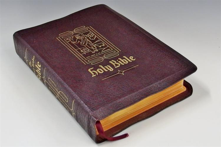 1952 Leather & Gilded 'The Holy Bible', Consolidated Book Publ. Chicago