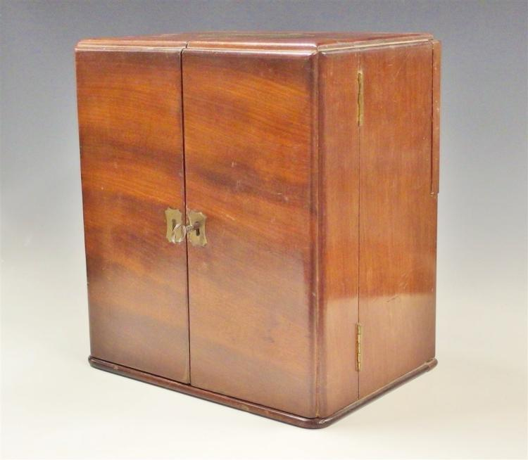 Lot 21: Late 1800's Antique Apothecary Chest. Portable Walnut Medicine Chest