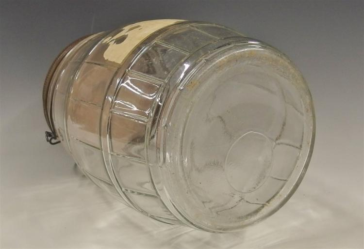 Lot 28: Glass Pickle Barrel Jar with Bale , 9-3/4H
