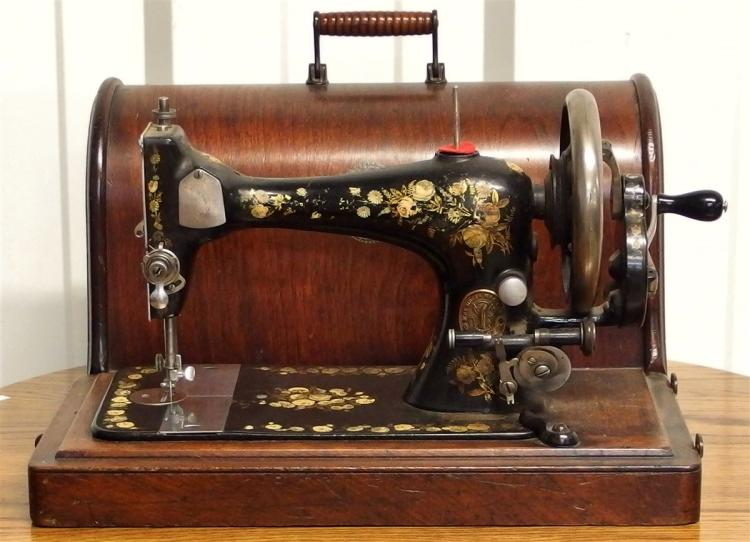 1889 Oak Singer Portable Hand Crank Sewing Machine