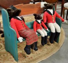 Lot 33: Painted Fox Bench with Fox Hunting Family