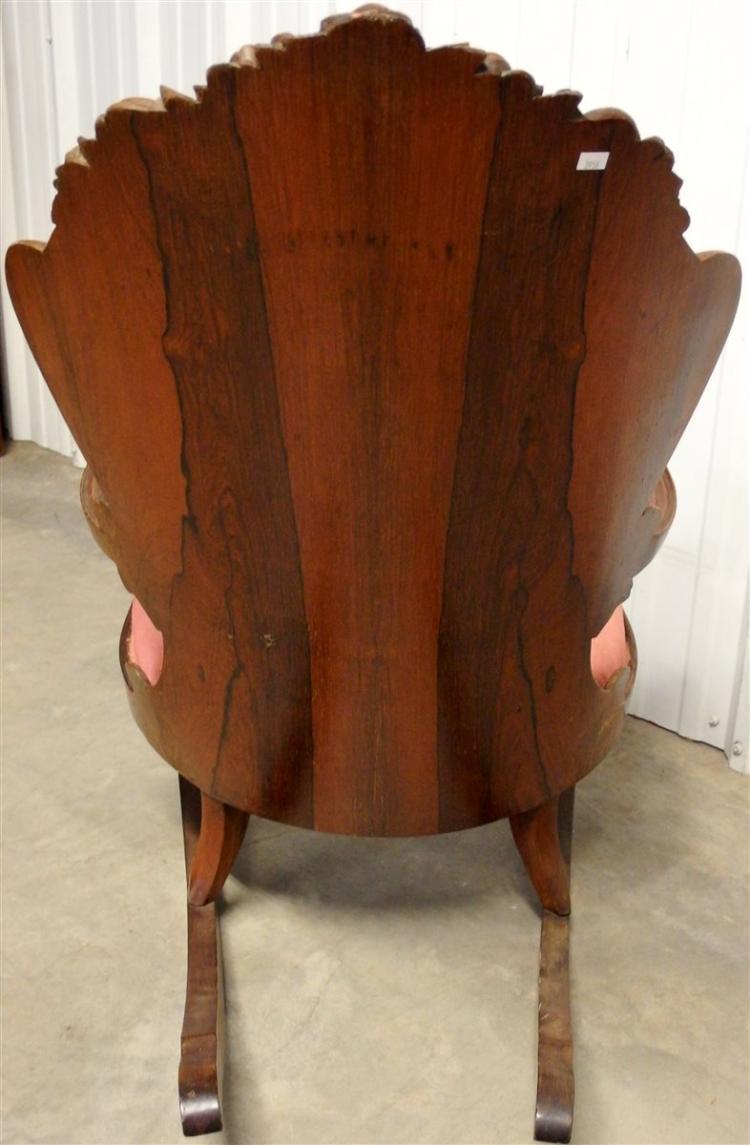 Lot 35: Antique Rosewood Carved Upholstered Rocker with Solid Wooden Back