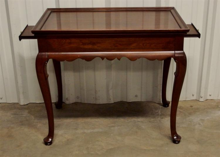 Ethan Allen Mahogany Tea Table with 2 Pullouts