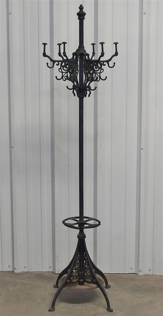 Antique Victorian Cast Iron Coat Rack with Umbrella Stand