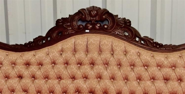 Lot 42: Victorian Rococo Revival Walnut Sofa with Carved C-Scrolls, Nuts & Acanthus