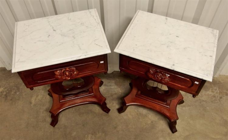 Lot 43: Pair of Victorian Style Mahogany Lyre Base Tables with Marble Top