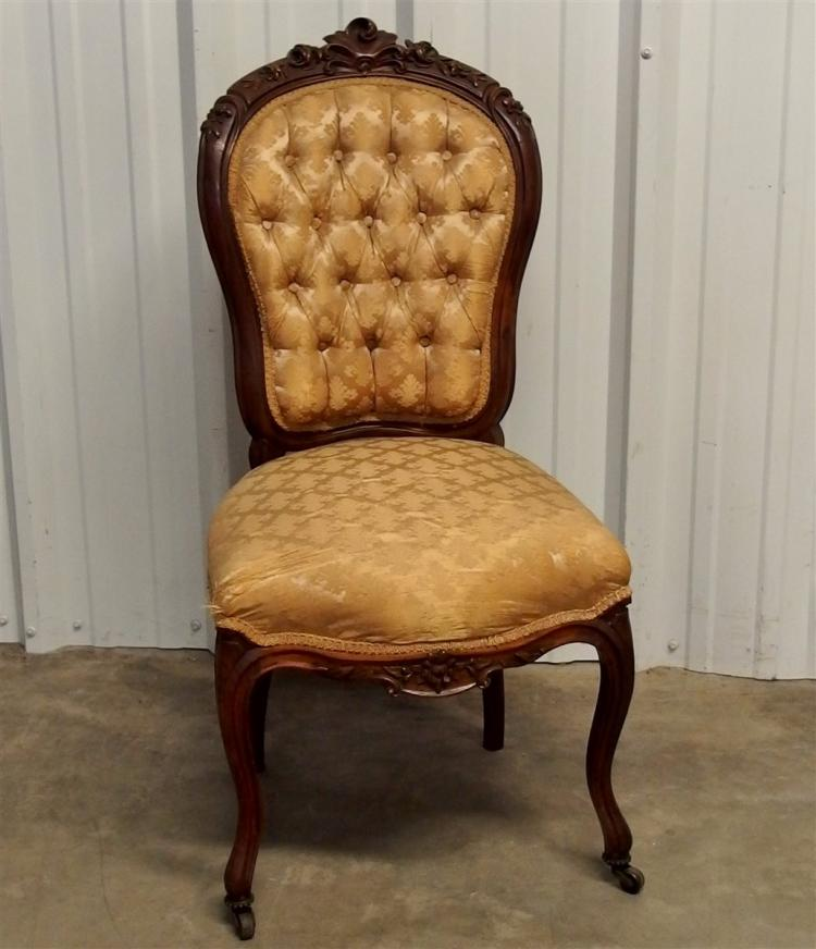 Victorian Rococo Revival Upholstered Walnut Carved Side Chair