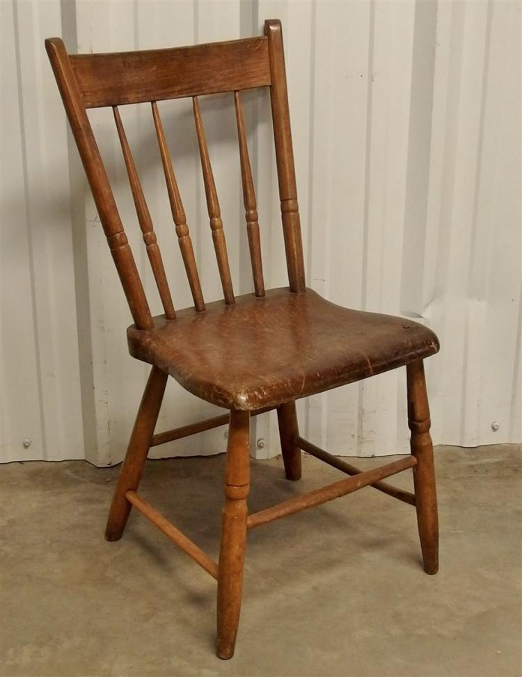 Antique New England Plank Seat Chair