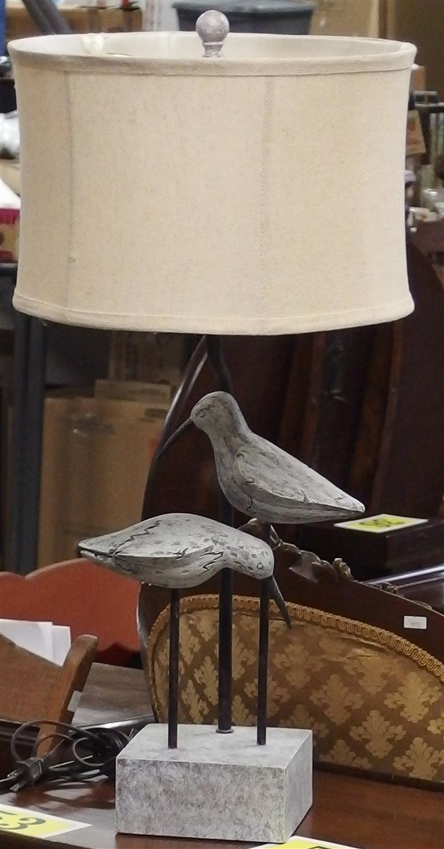 Carved Bird Lamp, 27H