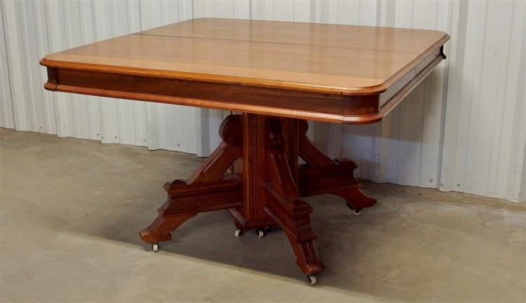 Eastlake Square Walnut Table with 6 Boards