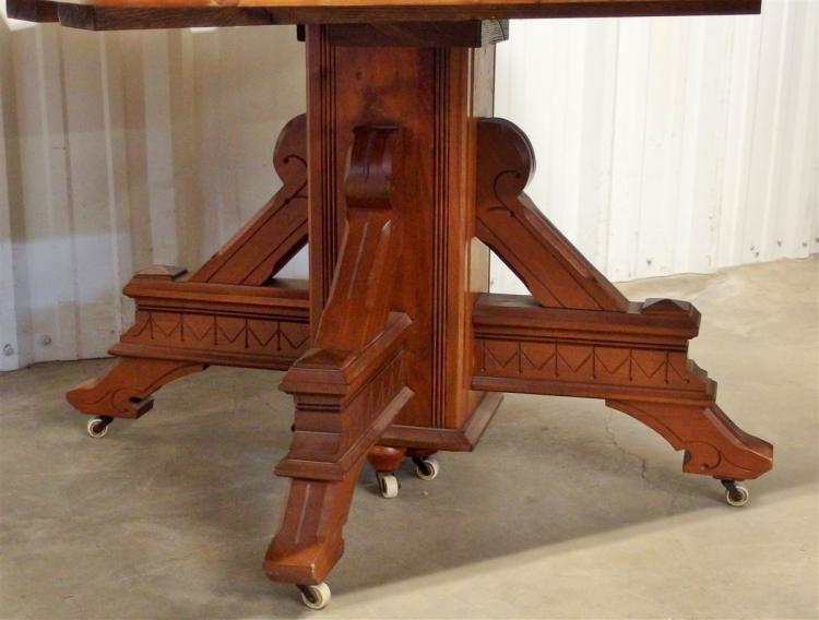 Lot 55: Eastlake Square Walnut Table with 6 Boards