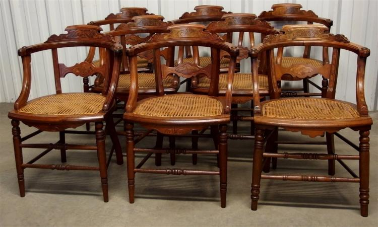 Set of 8  Eastlake Walnut Cane Seat Chairs with Curved Backs